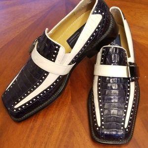 Giorgio Brutini navy white alligator silver shoe